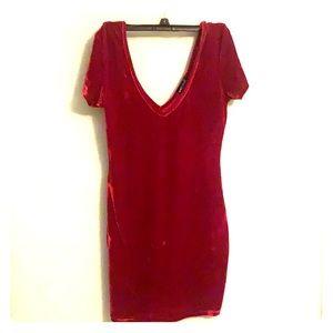 Wet seal red velvet mini dress v neck